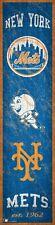 "New York Mets Heritage Banner Retro Logo Wood Sign 6"" x 24"" Wall Decor Est 1962"