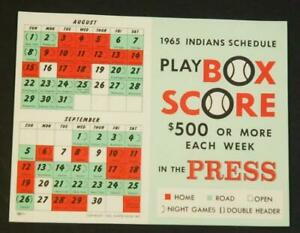 1965 Cleveland Indians Baseball Schedule Play Box Score in the Press