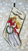 Lands End Needlepoint Christmas Stocking Angel Jennifer Celestial Victorian