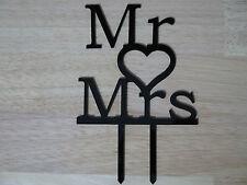 Mr And Mrs Wedding Cake Topper Decoration Black Bling Rhinestones &