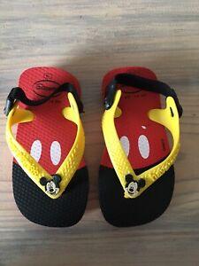 BN Baby Boys/Girls Mickey Mouse Havaianas Shoe Flip Flops Size EU 19 9-12 Months