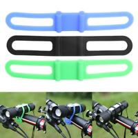 Silicone Strap Bandage Bike Torch Band Flashlight Lamp Clip Bicycle Light Holder