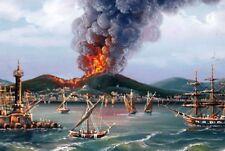 Antico Acquarello Dipinto anni ~1800, GOLFO DI NAPOLI il Vesuvio in eruzione
