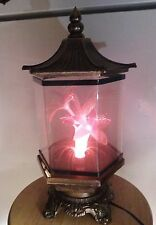 Vintage Oriental Theme Rotating Fiber Optic Flower Lamp With Metal Base And Top