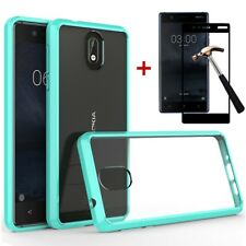 For Nokia 3.1 Hybrid Shockproof Luxury Rubber Slim Bumper Clear Hard Case Cover