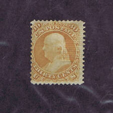 Scott# 100, Unused, 30c, Franklin, Grill, Hinged, 1868, Rare Stamp