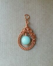 Copper and Mint Green Jade Wire Wrapped Pendant Handmade