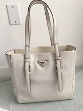 Authentic Prada Bag Tote Shoulder Classic Casual Talco Leather $1850 Retail