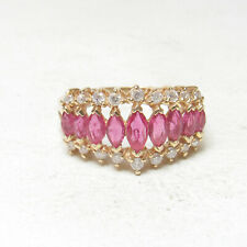 Rose Red Ruby Diamond Ring 2.00 Cts Estate 14K Yellow Gold 9 Natural Marquise