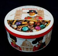 VINTAGE TIN CONTAINER England Candy Jameson Westminster Colorful 5.5""