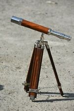 Antique Floor Standing Tripod Nautical Maritime Solid Brass& Wood Pipe Telescope