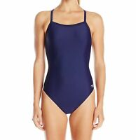 Speedo Womens Swimwear Blue Size 28 Racer Cutout Powerflex One Piece $64 773