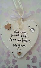 Personalised Gift Chic Mother Of The Bride Groom Wedding Present Keepsake heart