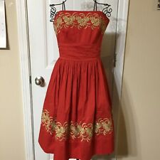 ANTHROPOLOGIE Girls From Savoy Strapless Dress Orange Gold Embroidery SZ 10
