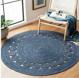 Rug 100% Natural Jute Braided Style Round Reversible Rug hadmade Area Carpet Rug