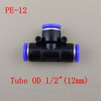 "5pcs Pneumatic Connector OD 12mm 1/2"" Tube Hose Tee Union Push In Fitting f Air"