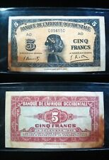 New listing French West Africa 5 Francs 1942 Ivory Coast 50# Banknote Currency Money