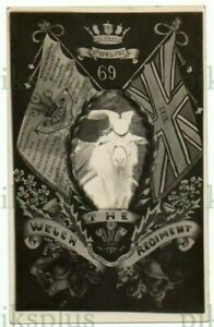 MILITARY POSTCARD WELCH REGIMENT ARMS PET GOAT MASCOT REAL PHOTO VINTAGE C.1914