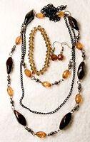 jewelry set new brown bead necklace earrings glass bracelet silver tone black