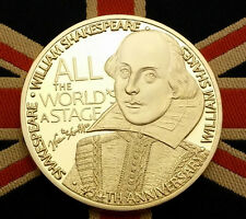 450th Anniversary Shakespeare Gold Coin Stratford Stage Plays Autograph Writer