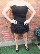AX PARIS BLACK & LACE GOTHIC RUFFLED PROM STRETCH COCKTAIL PARTY DRESS ~ UK 10