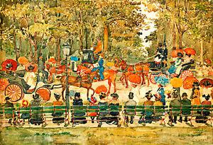 Central Park 1901 A1+ by Maurice Brazil Prendergast High Quality Canvas Print