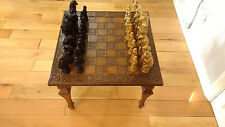 Antique Wood Chess Board Table + Unique Animal Chess Pieces Gold+Dark Red Color