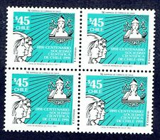 CHILE 1991 STAMP # 1503 MNH BLOCK OF FOUR SCIENTIFIC SOCIETY SCIENCE