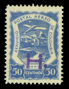 """COLOMBIA 1921 AIRMAIL - SCADTA - Holland """"H"""" handstamp 50c blue Sc# CLH6 mint MH"""