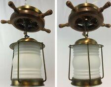 Vintage c1950s Nautical Maritime Ship's Wheel Pendant Wood & Brass