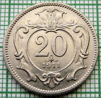 AUSTRIA FRANZ JOSEPH I 1911 20 HELLER, NICKEL UNC LUSTRE