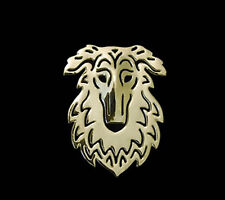 Borzoi Dog Brooch or Pin -Fashion Jewellery Gold Plated, Stud Back