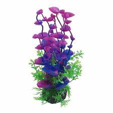 CNZ Purple/Green Aquarium Plastic Artificial Plants 8-inch Tall