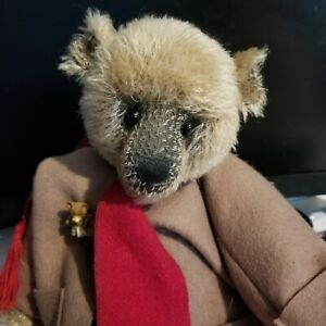 PARKER PEOPLE MOHAIR BEAR 18 INCH TIPPED MOHAIR FULLY JOINTED JACKET SCARF