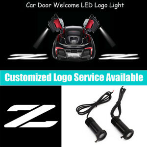 2Pcs White Fairlady Z Logo Car Door LED Projector Light for Z33 Z34 350Z 370Z