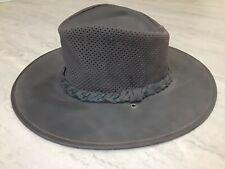 Minnetonka Genuine Leather Safari Outback Aussie Hat Brown Fold Up Mens Sz Small