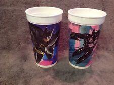 McDonalds 1992 Batman Returns cups -  Batman, Catwoman Lot Of 2