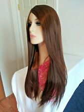 Long straight smooth honey brown wig, beautiful hairline and skin part, 22 in.