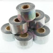 8 Rolls Mix Style Holo Silver Film Transfer Foil Wraps Nail Art Manicure Decor