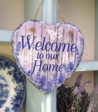 Decoupaged Slate Hanging Heart - Welcome To Our Home Sign - Home Decoration