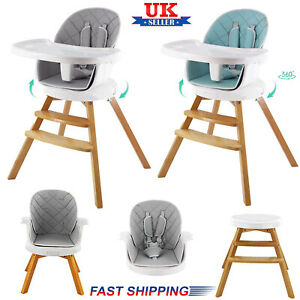360° Rotatable 4in1 Baby High Chair Infants ToddlerWooden Double Removable Tray