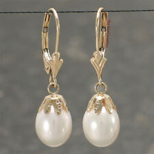Genuine White Cultured Pearl 14k Yellow Gold Lever Back Cups Dangle Earrings TPJ