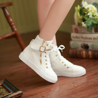 Women Korean Style Lace Up Athletic Shoes Casual High Top Sneakers Flat Shoes WJ