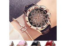 Montre lotus doré pour femme bijou avec bracelet noir réglable