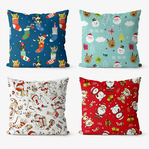 Christmas Xmas design 4 Pieces Two Sides Printed Cushion Pillow Case Cover