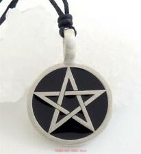 Black Pentacle Pentagram Pendant Necklace pagan wicca druid witch Jewellery NEW