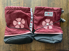 Stonz toddler booties, size M, cranberry, pink flower, with liners