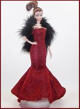 Handmade DOLL Fashion Red MERMAID Gown Boa & Heels *Silkstone & Vintage BARBIE