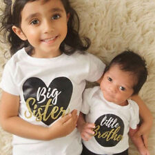 Todder Little Brother Baby Boy Romper Big Sister Kids Girl T-shirt Tops Outfits