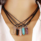 NT Natural Quartz Healing Point Gem Rock Crystal Chakra Stone Pendant Necklace